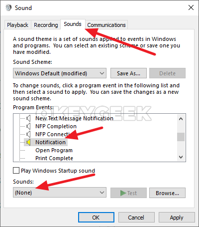 How to turn off notification sounds in Windows 10: via